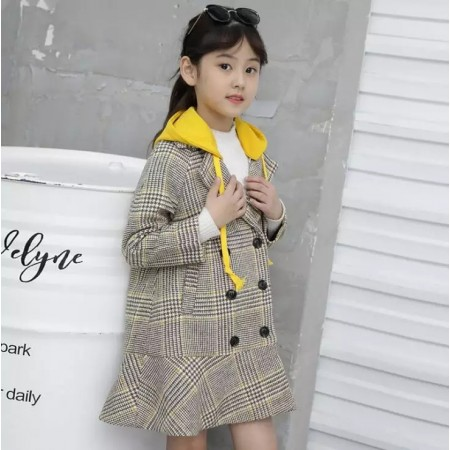 Plaid hooded coat mustard