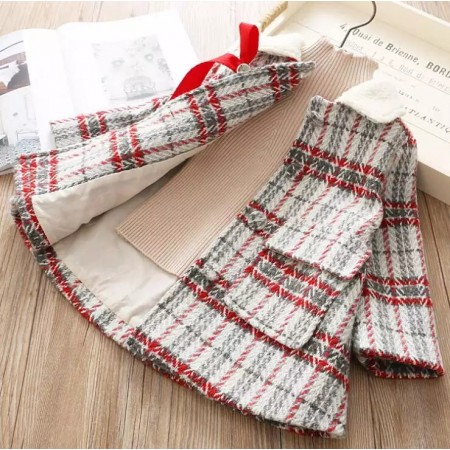 Oliana elegant plaid bow coat - red