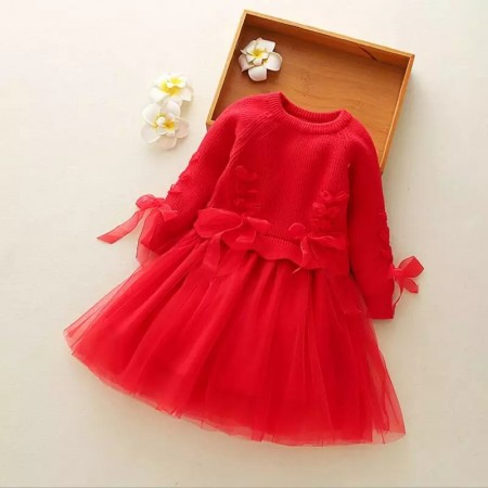 Red ribbon and tulle dress