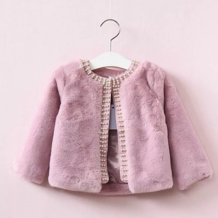 Soft faux fur and pearl jacket-dusky pink