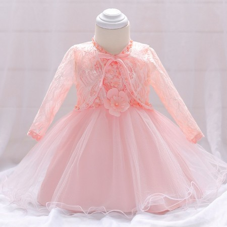 Eliana blush pink pearl and lace dress