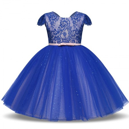 Lillia blue sparkle and lace dress