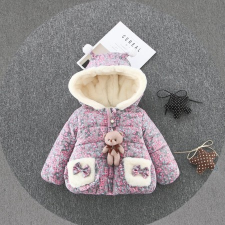 little teddy flower jacket - pink