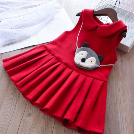 Cute little fox lined dress - red