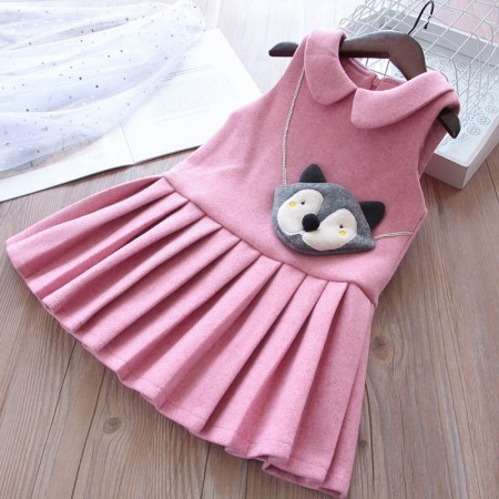 Cute little fox lined dress - pink