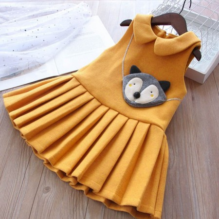 Cute little fox lined dress - mustard