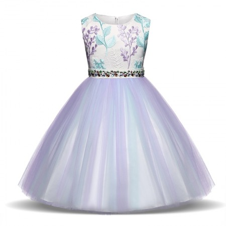 Imogen applique lilac occasion dress