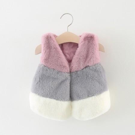 Autumn faux fur gilet - dusky pink