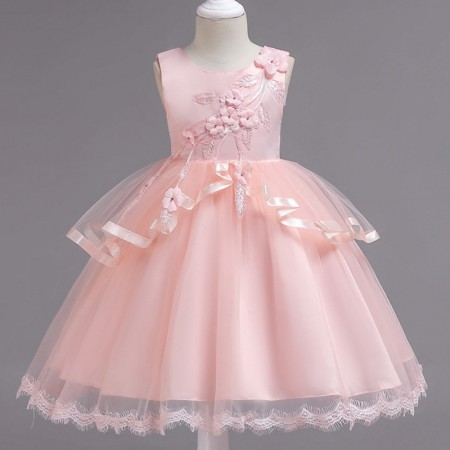 Avery pink blush petals and lace dress