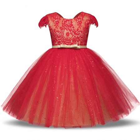 Lillia red sparkle and lace dress