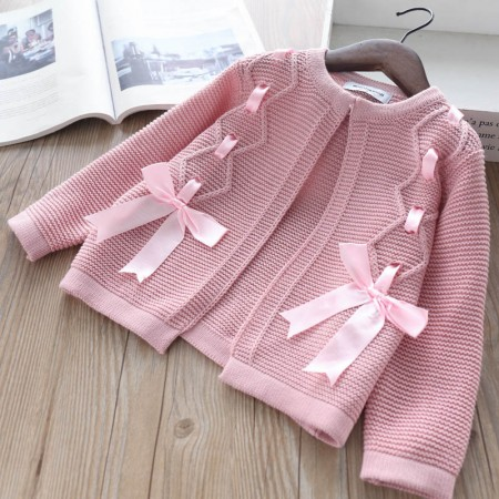 Autumn pink ribbon cardigan