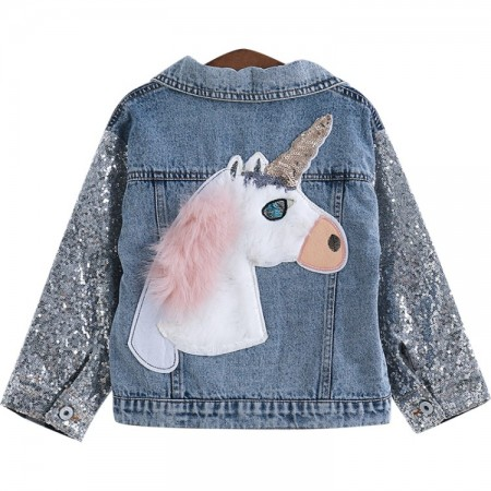 Sequin unicorn denim jacket