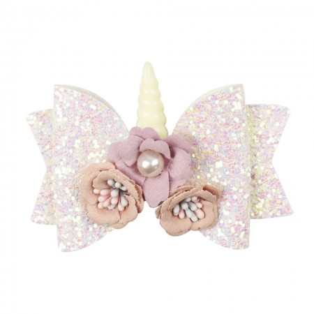 Soft pink unicorn hair bow