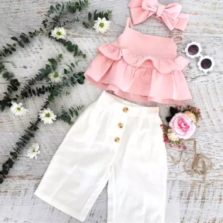 Callie crop trousers and top set