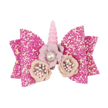 Pink unicorn hair bow