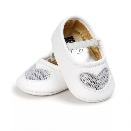 Little tots silver sparkle heart shoes
