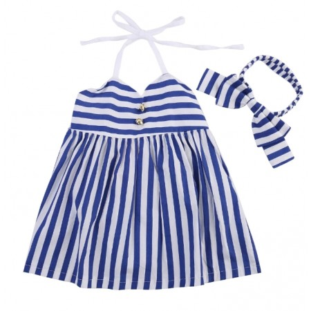 Gracie blue stripe dress with headband