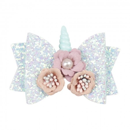 Soft mint unicorn hair bow