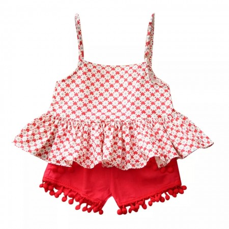 Red floral top with pompom shorts