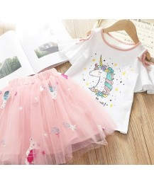 Unicorn tee and tulle skirt