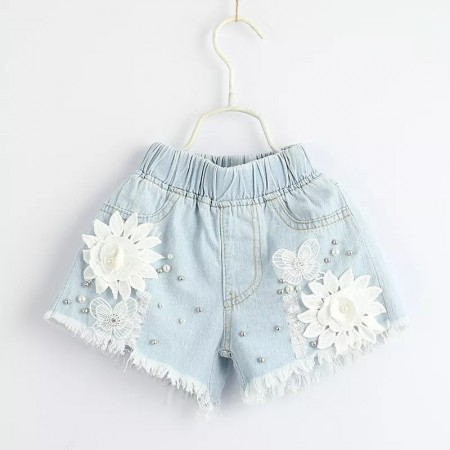 Lace and pearl denim shorts