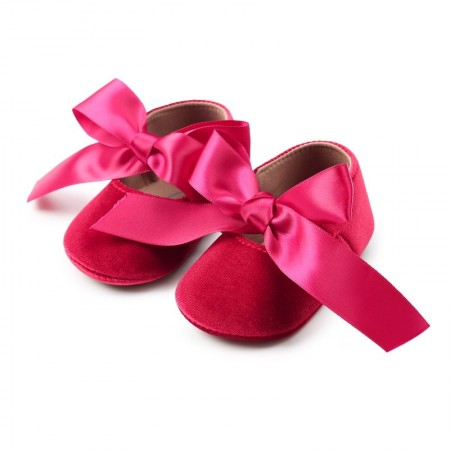 Ditsy velour ribbon shoes - red