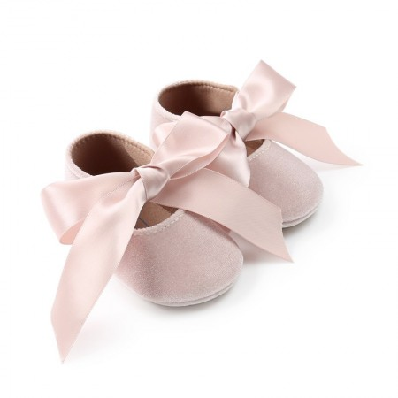 Ditsy velour ribbon shoes - cream