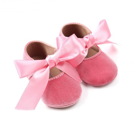 Ditsy velour ribbon shoes - pink