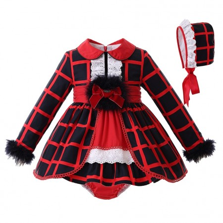 Brooklyn plaid red and black outfit - baby