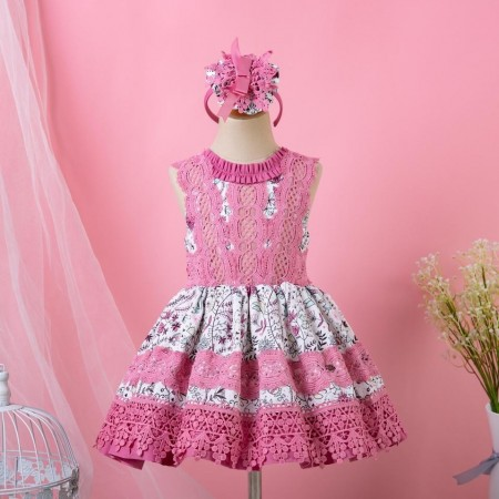 Clara Spanish style lace dress pink