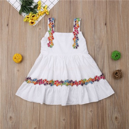 Hannah white flower embroidered dress