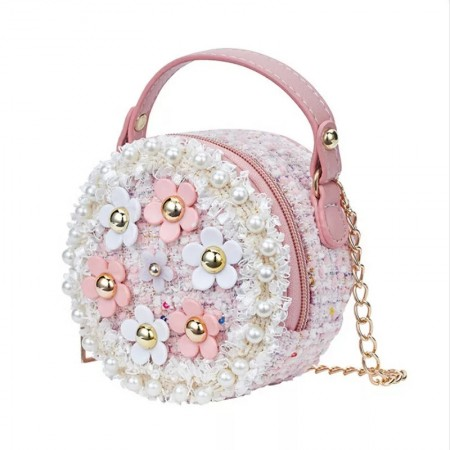 Pink and white pearl flower bag