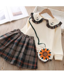 Plaid skirt and top set cream