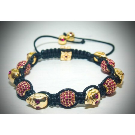 Gold and red skull shamballa crystal bracelet