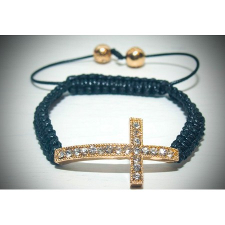 Gold crystal cross shamballa bracelet