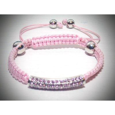 Pink crystal bar bracelet