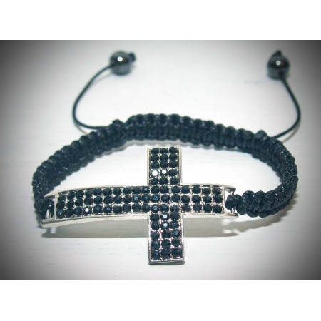 Large black cross crystal bracelet