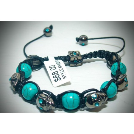 Aqua skull with blue crystal shamballa bracelet