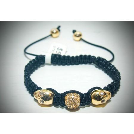 Gold 2 skull shamballa bracelet