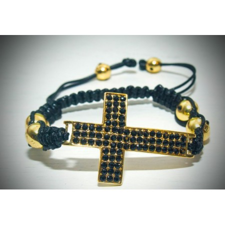 Large gold cross black crystal shamballa bracelet