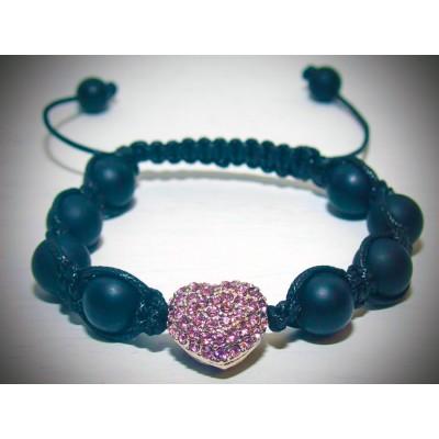 Pink crystal heart bracelet