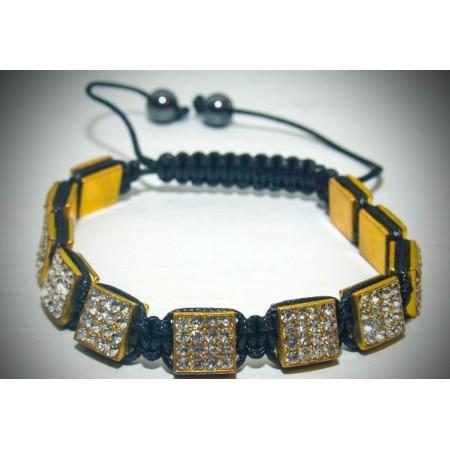 Gold crystal square shamballa bracelet