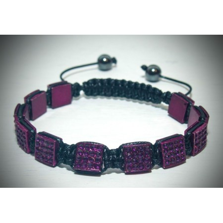 Purple crystal square shamballa bracelet