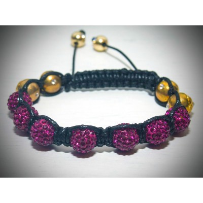 Pink crystal and gold shamballa bracelet