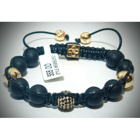 Black and gold crystal shamballa bracelet