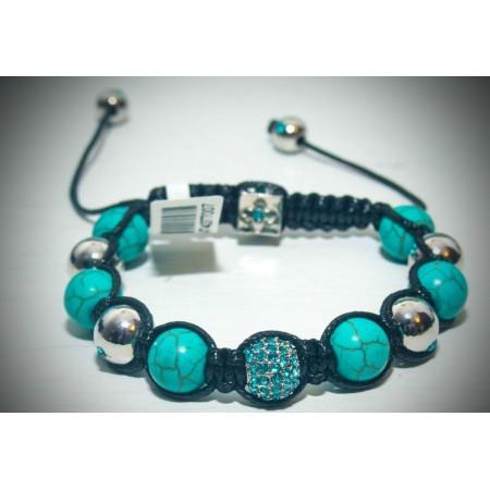 Aqua and silver crystal shamballa bracelet