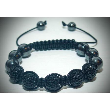 Black crystal shamballa bracelet