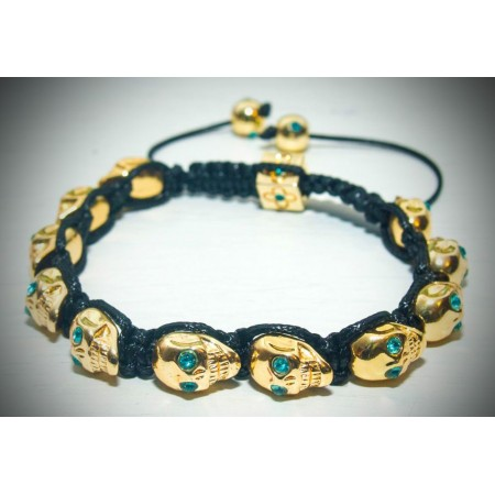 Gold skull blue crystal eyes shamballa bracelet