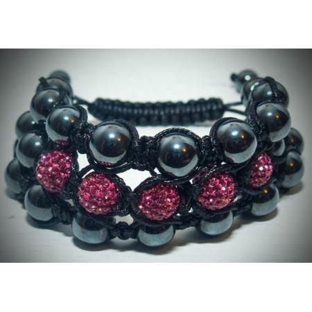 3 tier pink crystal shamballa bracelet