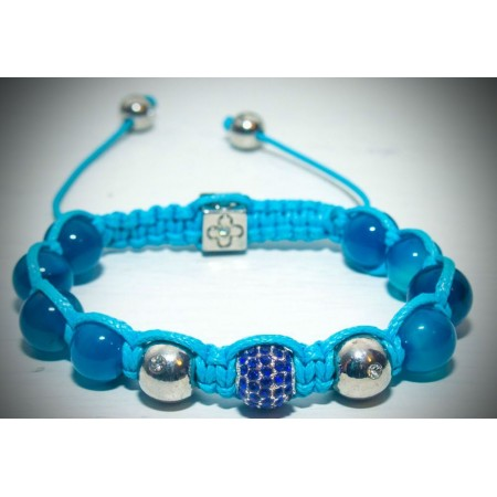 Blue glass bead and crystal shamballa bracelet